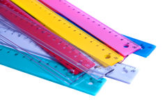 Colorful RULLERS FOR MATHEMATICS AND GEOMETRY IN SCHOOL Royalty Free Stock Photo