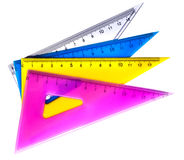 Colorful RULLERS FOR MATHEMATICS AND GEOMETRY IN SCHOOL Royalty Free Stock Image