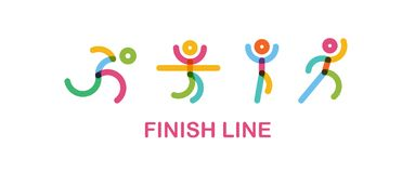 Colorful Runners at Finish Line. runing motion. Simple flat symbol. vector illustration. Logo for running marathon. Silhouette Runner at Finish Line. flat symbol Royalty Free Stock Image