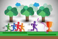 Colorful runners in race, also represents team leader, winner etc. Stock Image