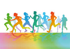 Colorful running figures