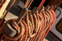 Colorful running rigging of a ship Royalty Free Stock Photo