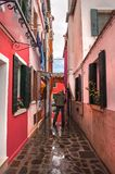 Colorful rural buildings of Island Burano, Venice, Italy Stock Photo