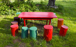 Colorful rural garden furniture Royalty Free Stock Image