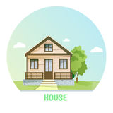 Colorful rural house. Flat buildings. Royalty Free Stock Photos