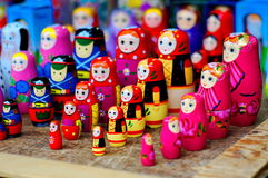 Colorful russian dolls. Rolls of colorful, hand crafted russian dolls Royalty Free Stock Photography