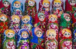 Colorful Russian nesting dolls at the market. royalty free stock photo