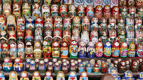Colorful Russian nesting dolls Stock Photos
