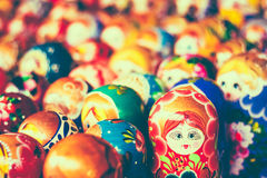 Colorful Russian Nesting Dolls At The Market Royalty Free Stock Photos