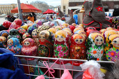 Colorful Russian nesting dolls at the market. Stock Photography