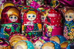 Colorful Russian nesting dolls matreshka at the market. Matriosh Stock Photos