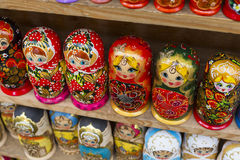 Colorful Russian nesting dolls matreshka at the market. Matriosh. Ka Nesting dolls are the most popular souvenirs from Russia Royalty Free Stock Photography