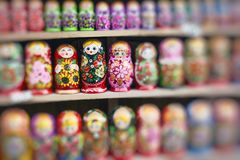 Colorful Russian nesting dolls matreshka at the market. Matriosh Royalty Free Stock Photography