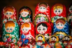 Colorful Russian Nesting Dolls Matreshka At Market. Stock Photos