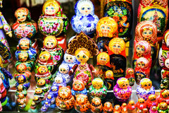 Colorful Russian Nesting Dolls Matreshka. Colorful Russian Nesting Dolls Matreshka at Market. Matrioshka Most Popular Souvenir From Russia Royalty Free Stock Photography