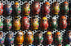 Colorful russian wooden dolls as fridge magnet Stock Photo