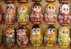 Colorful russian wooden dolls at a market Stock Photography
