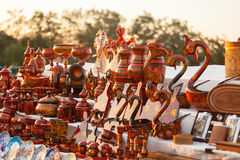Colorful Russian wooden souvenirs at the market Stock Image