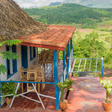 Colorful rustic wooden house at the Vinales Valley Stock Images