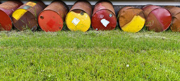 Colorful rusty  barrels Royalty Free Stock Image