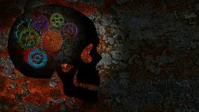 Colorful Rusty Mechanical Gear Movement in Human Skull on a Grunge Texture Background. Colorful Rusty Mechanical Gear Parts Rotating and Moving in a Human Skull stock video footage