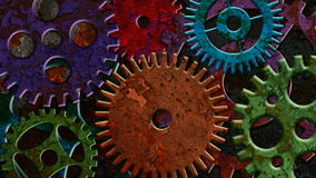 Colorful Rusty Mechanical Gear Parts Rotating and Moving on Grunge Texture Background