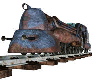 Colorful rusty train. 3D render of a colorful rusty train Stock Image