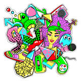 Colorful 90s Fashion Patches Doodle Template. With badges and pins in comic style vector illustration royalty free illustration