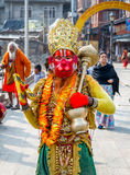 Colorful Sadhu Hanuman at Pashupatinath Temple Stock Images
