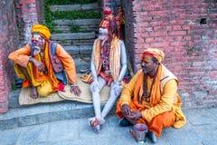 Colorful Sadhu at Pashupatinath Temple Stock Photography