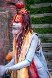 Colorful Sadhu at Pashupatinath Temple Royalty Free Stock Image