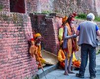 Colorful Sadhu at Pashupatinath Temple Royalty Free Stock Photography