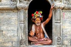 Colorful Sadhu in Pashupatinath Temple Stock Image