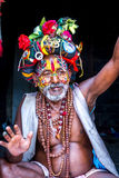 Colorful Sadhu in Pashupatinath Temple Royalty Free Stock Photography
