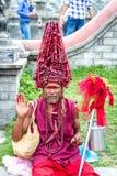 Colorful Sadhu at Pashupatinath Temple Stock Photo
