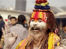 Colorful Sadhu in Shivaratri Festival Stock Photo