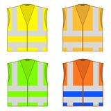 Colorful Safety Jackets. Protective Workwear for Work. Road Vests with Stripes. Professional High-visibility Clothes Royalty Free Stock Photos