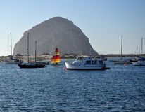 A Colorful Sail on the Bay, Morro Bay royalty free stock photos