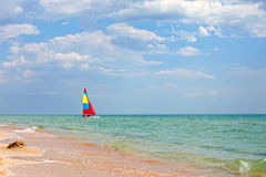 Colorful sailboat on the Black Sea, Crimea Stock Images