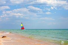Colorful sailboat on the Black Sea, Crimea Stock Images
