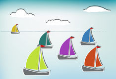 Colorful sailboats Stock Photos