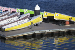 Colorful sailboats on dock, Charles River, Boston, Massachusetts, USA Royalty Free Stock Images