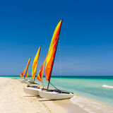 Colorful sailing boat on a cuban beach Royalty Free Stock Photos