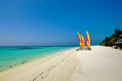 Colorful Sailing boat on the Tropical Beach at  Maldives. Sailing boat on the Tropical Beach at  Maldives Royalty Free Stock Photography