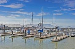 Colorful Sailing Boats at Fishermans Wharf of San-Francisco Bay Stock Photos