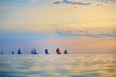 Colorful sailing boats on the sea Royalty Free Stock Images