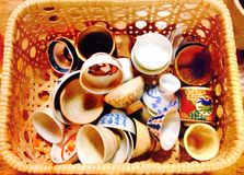 Colorful Sake cups Stock Photos
