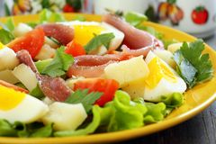 Colorful salad with anchovies. Stock Photo