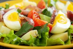 Colorful salad with anchovies, tomatoes and eggs. Stock Photo