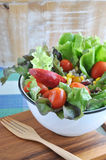 Colorful Salad Bowl with Wooden Fork Stock Photos